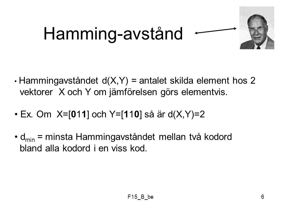 Hamming-avstånd Ex. Om X=[011] och Y=[110] så är d(X,Y)=2